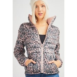 12 Pm By Mon Ami Jackets & Coats - Leopard Reversible Puffer Jacket